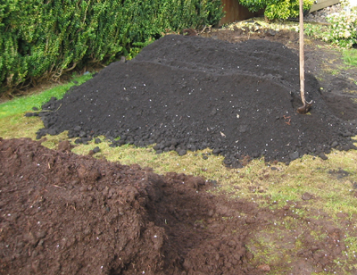 Vegetable garden soil being mixed with mushroom manure