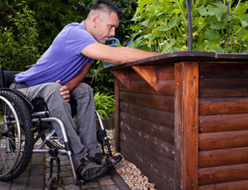 Access can be accomplished with raised bed gardens